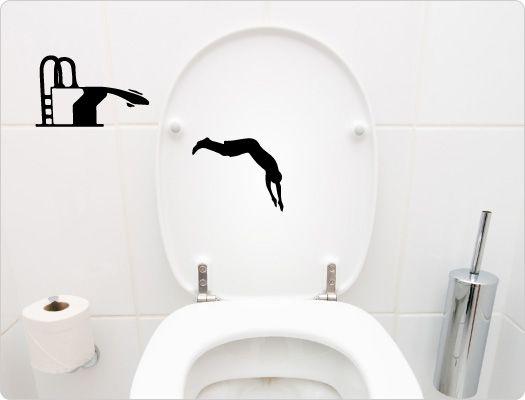 Badezimmer Aufkleber ~ Wc aufkleber katze und fische toilettenaufkleber wc deckel