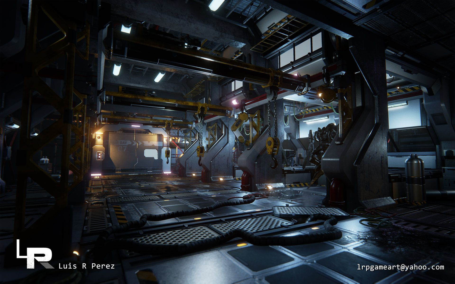 Artstation Sci Fi Mech Hangar Luis Perez Garage