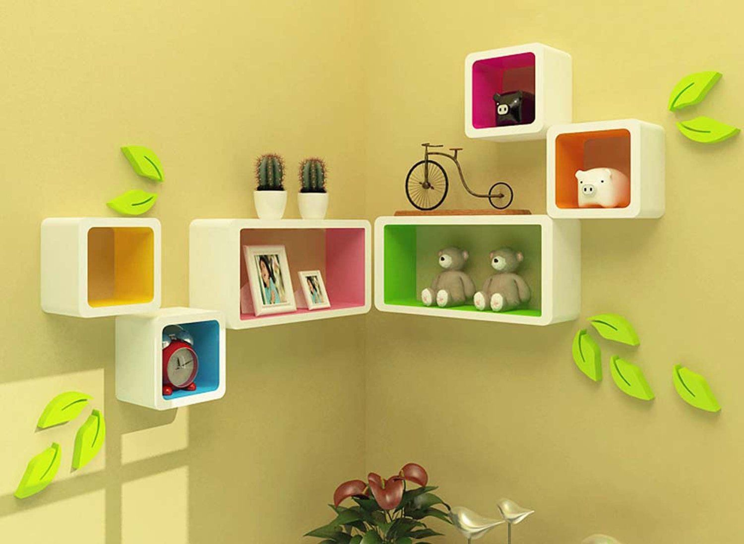 ZJchao Squares Wall Shelves Rounded Corner- Decorative Display ...