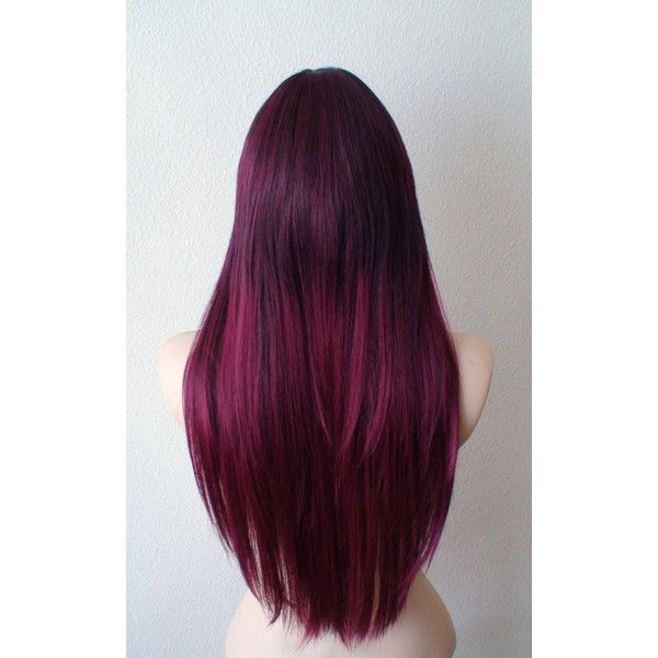 Burgundy Wine red Ombre wig. Long straight hair with long side bangs... ($90) ❤ liked on Polyvore featuring beauty products, haircare, hair styling tools, hair, hairstyle and wigs