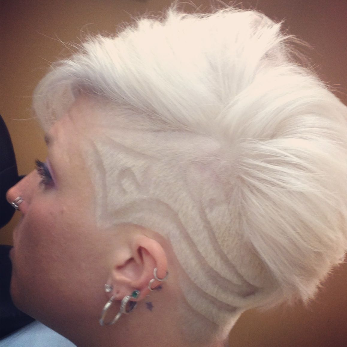Partially shaved head with hair tattoo things i like pinterest
