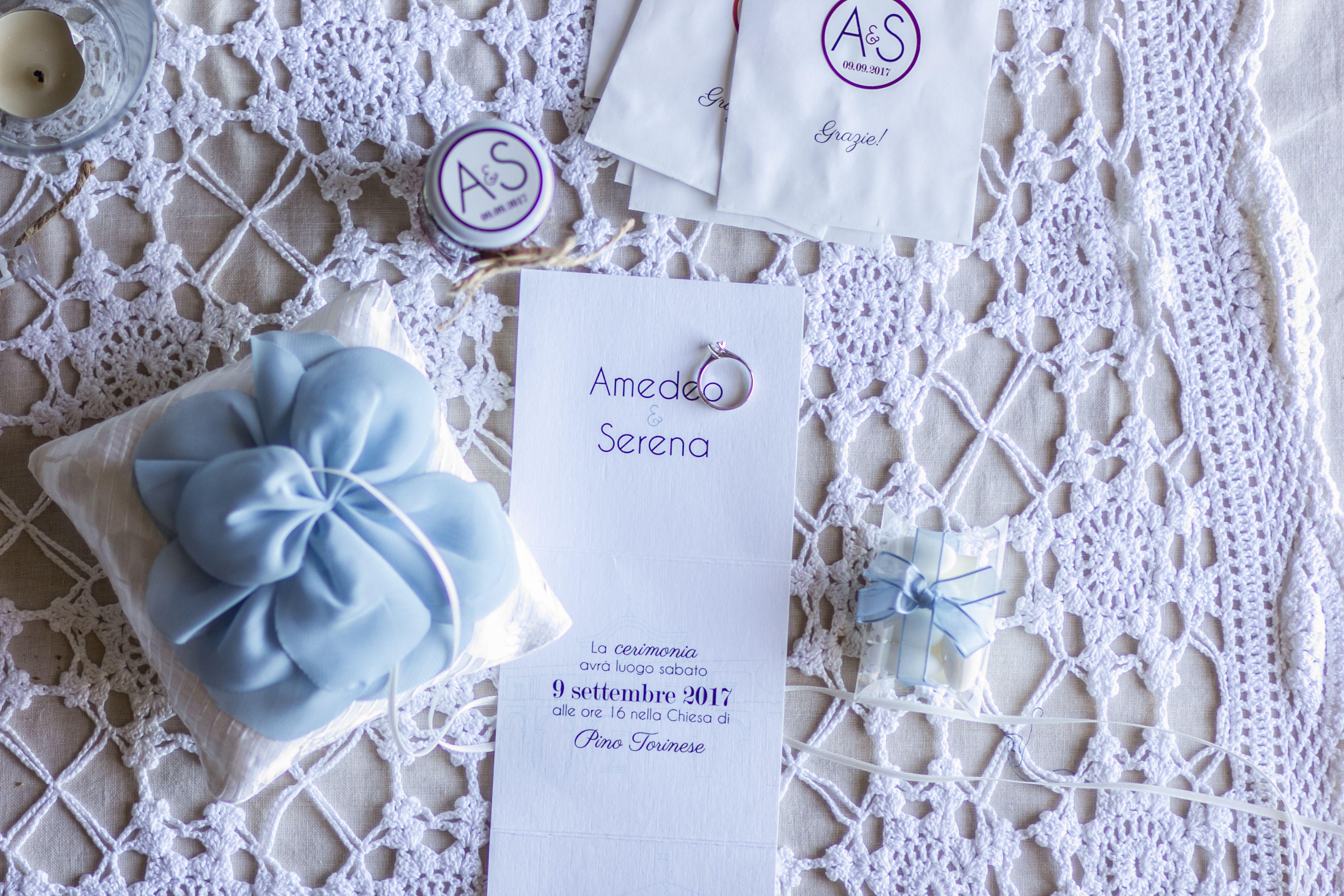 Partecipazioni Matrimonio Azzurro Polvere : Cuscino fedi fiore azzurro polvere fai da te inviti