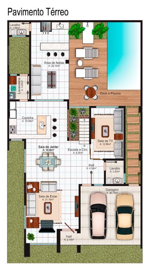 Pin de galinka c t en casas for Planos de casa con piscina interior