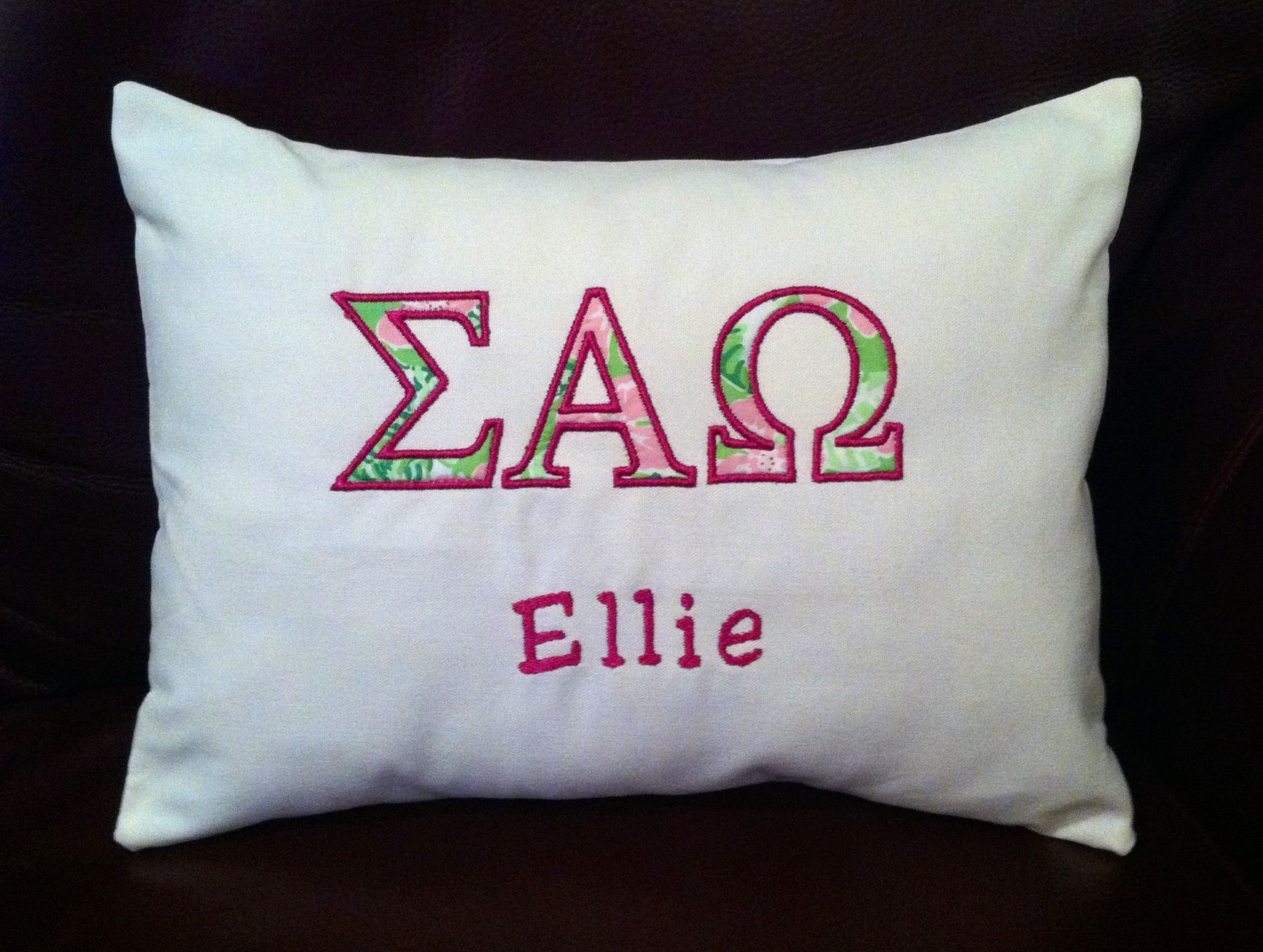 Sorority Pillow By Seasidepillows On Etsy Com Pillows Embroidered Pillow Sorority Crafts