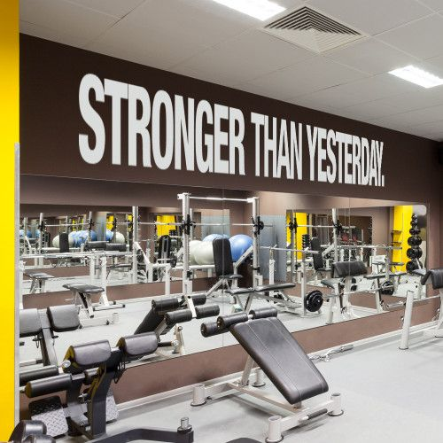 Stronger Than Yesterday Quote Sports Decals Gym Wall Decal Gym Wall Decor Gym Interior Gym Wall Decal