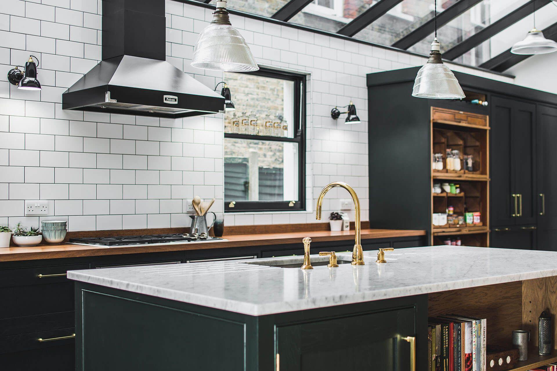 Dark Green Shaker Kitchen Dark green kitchen, White