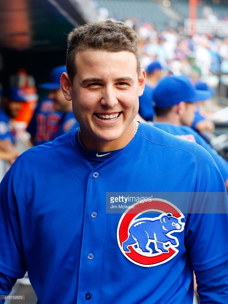 Photo of Anthony Rizzo of the Chicago Cubs looks on before a game against the…