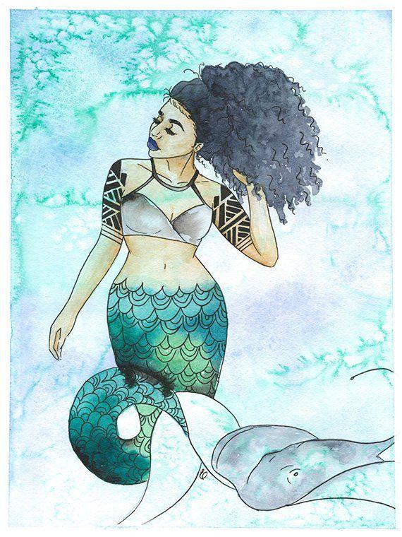 Kimiko Inked Mermaids Stingray Green Sea Blue Ink Gray