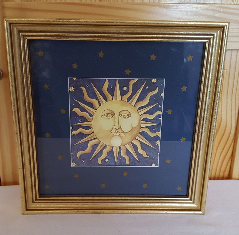 a72fb081d668 Celestial Sun Framed Art Print with Glass Blue Gold Square 9.5