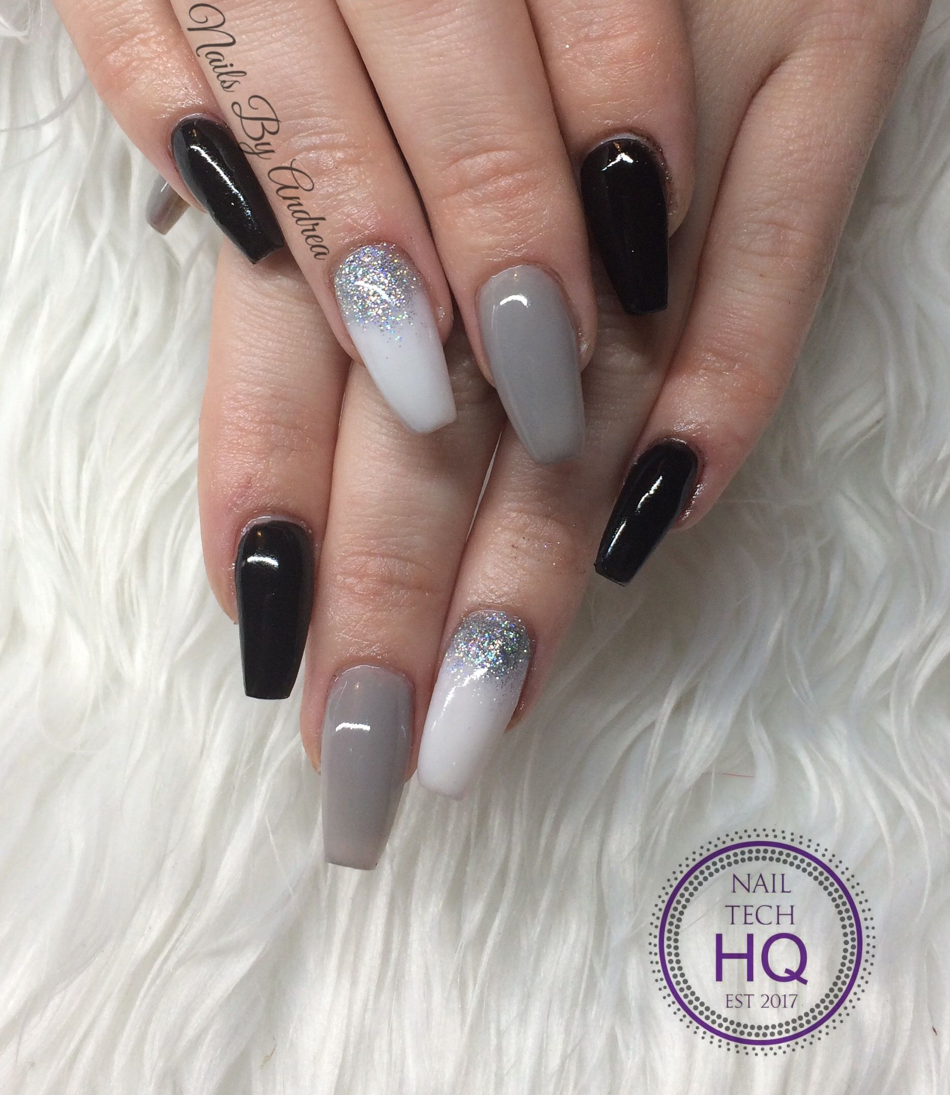 Black Grey White Nails With Silver Glitter Nails Nailart Notpolish Acrylic Sculpted Ballerina Cof White Nail Art Grey Nail Designs Grey Acrylic Nails