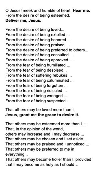 image relating to Litany of Humility Printable titled Litany of Humility Catholic Prayers Litany of humility