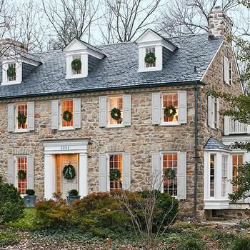 Colonial Home Cottage home exterior Christmas Pinterest