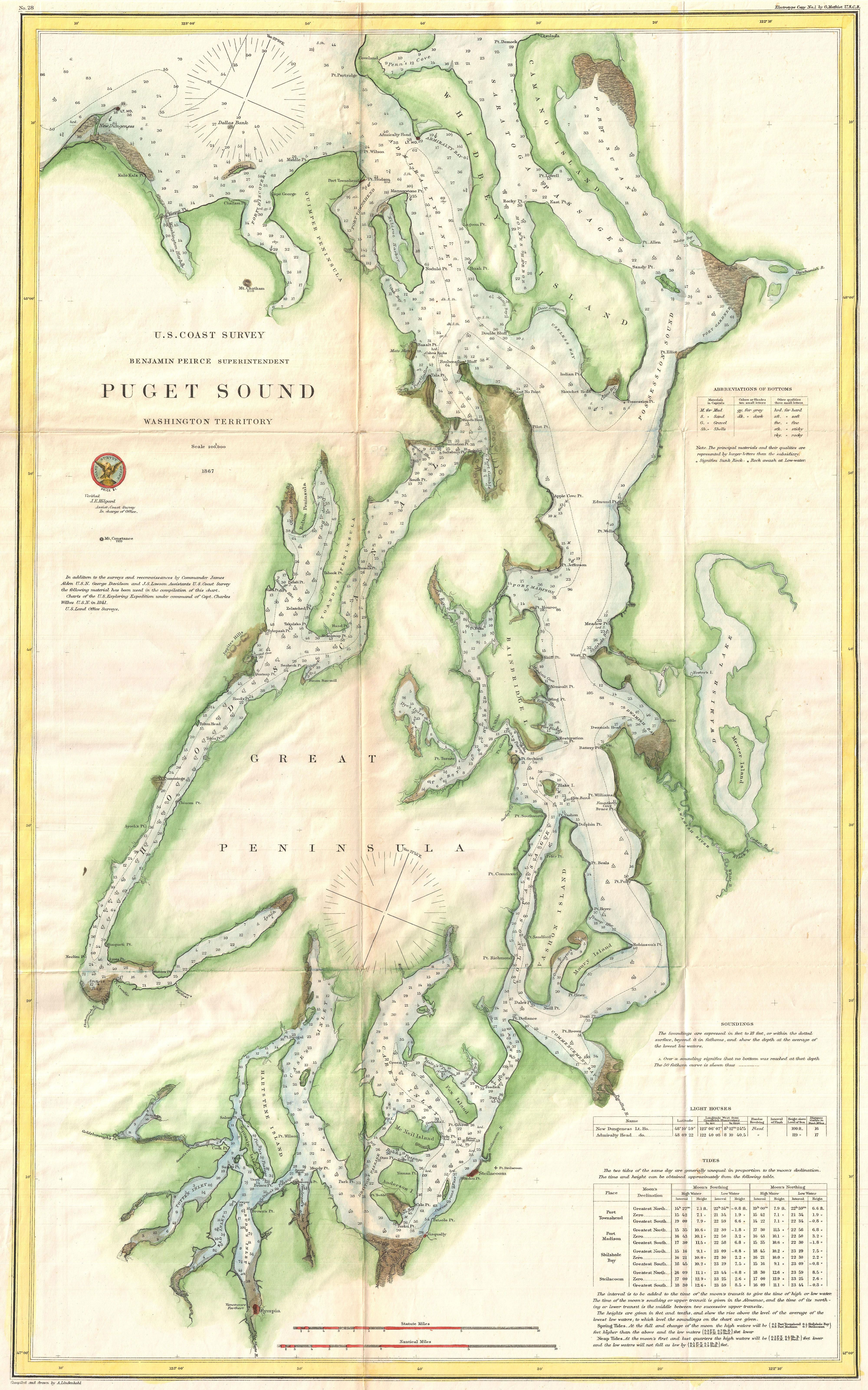 Map Of Puget Sound From 1867 Vintage Map Washington Map Puget