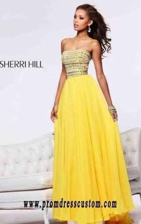 Yellow Sherri Hill 1539 Cheap Beaded Strapless Chiffon Long A-Line Prom  Dresses
