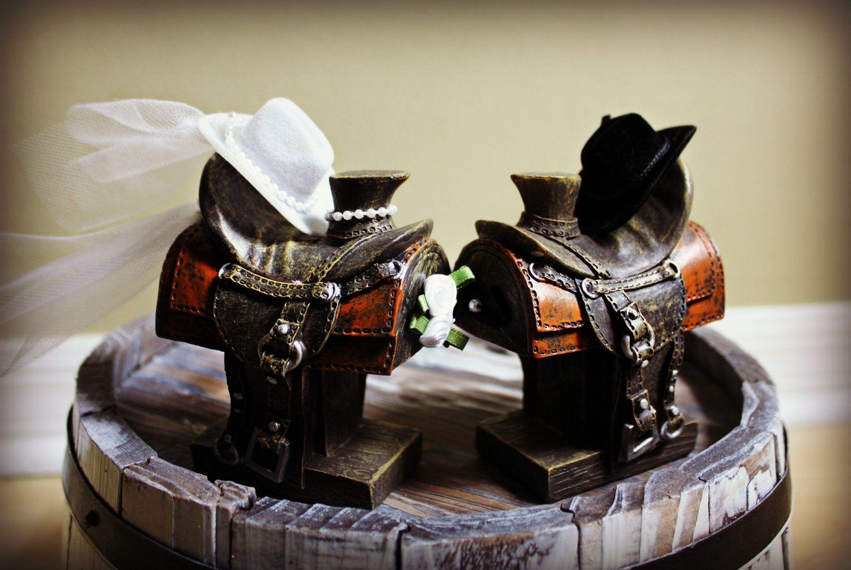 Western saddle wedding cake topper bride and groom rustic