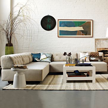 Tillary Tufted Modular Seating Westelm V Shape 8 Pc Sectional Marled Microfiber In Heather Gra Corner Sofa Design Modern Sofa Sectional Pretty Living Room
