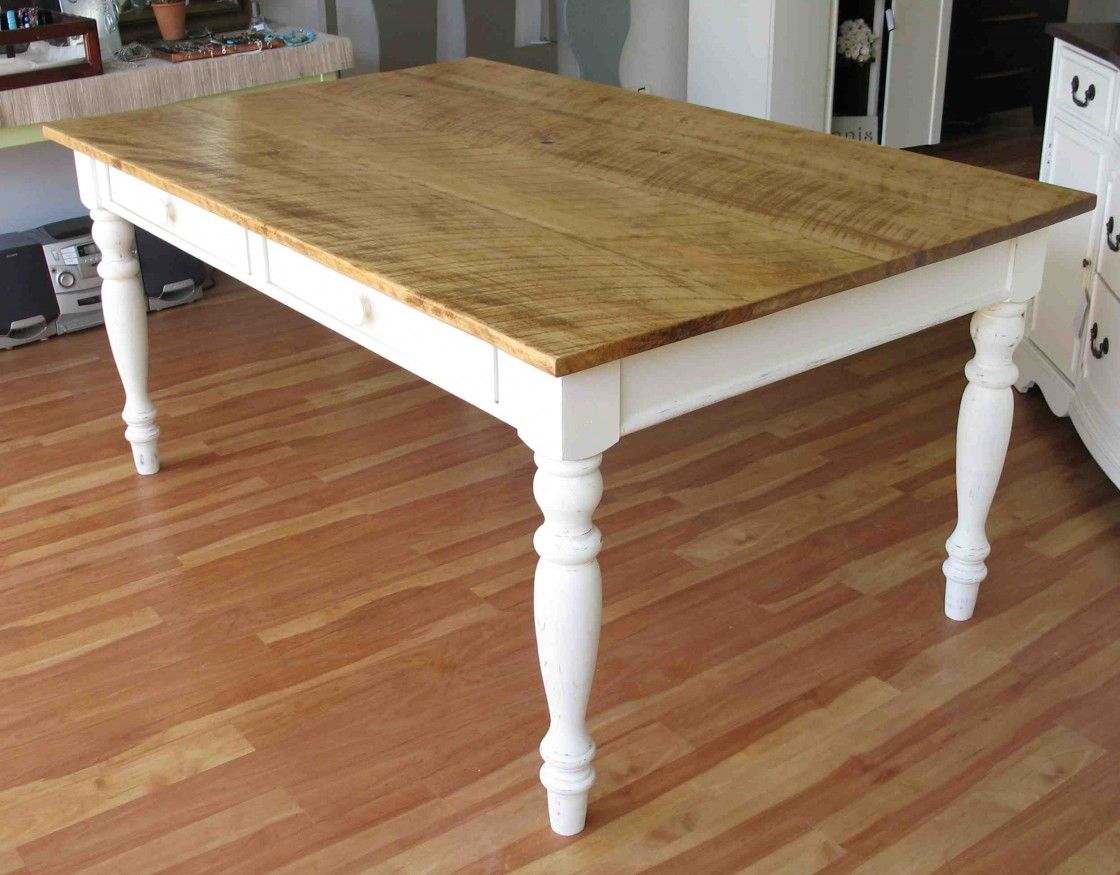 Modest Farm Kitchen Table Wood Made Furnished With Applying White Turned Legs And Natural Finish