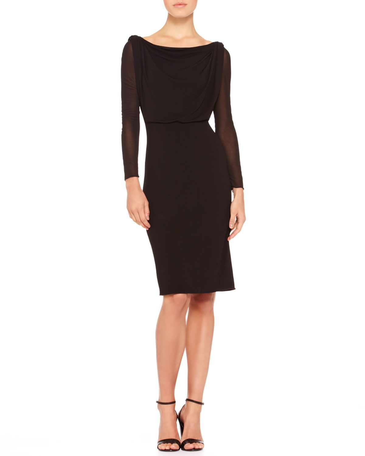 Armani Collezioni Fitted Sheer-Sleeve Dress - Neiman Marcus | #07 ...