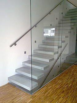 Cantilevered Concrete Stairs  Meidän tulevat portaat+lasiseinä, erilaisin kaitein ja valaistuksin, kylläkin!