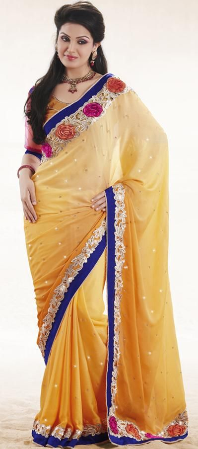 $81.96 Yellow Faux Georgette Embroidery Party Wear Saree 22975