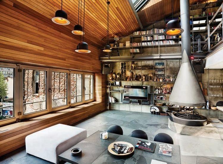 Loft Wohnung mit offenem Grundriss in Industrial-Stil Penthouse
