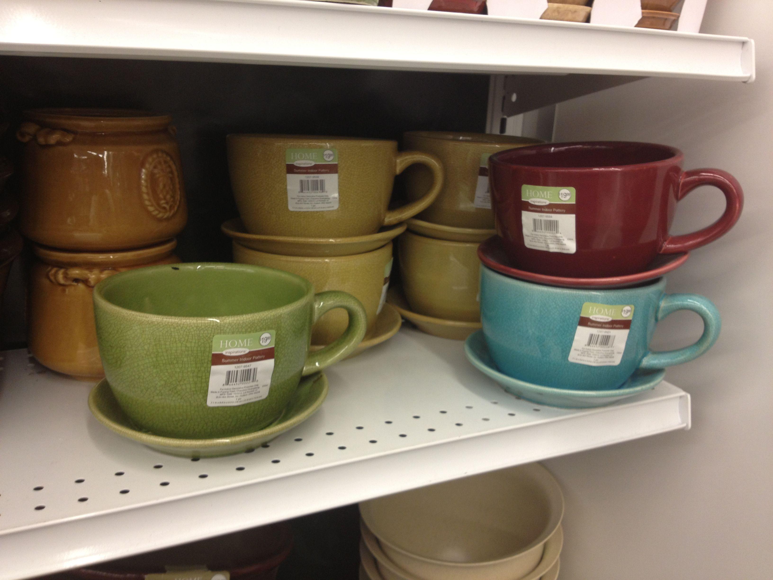 Coffee cup planters - fun! Joann Fabrics & Crafts store | Kitchen