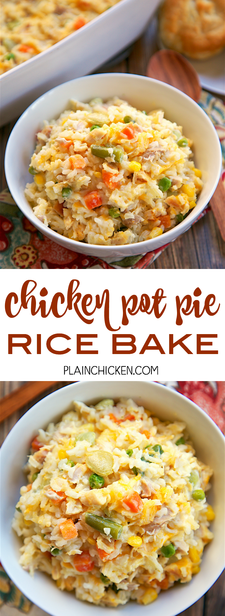 Chicken Pot Pie Rice Bake Easy Casserole Dishes Easy Casserole Casserole Dishes