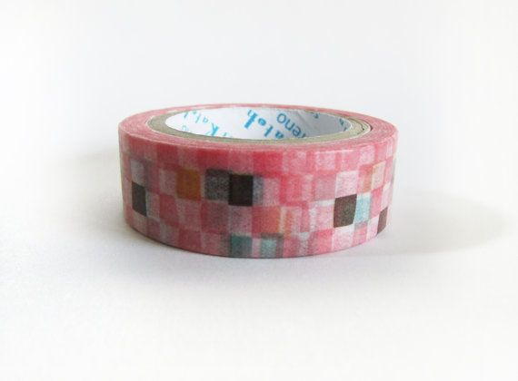 Pink Checkers Washi Tape by iluvgoodthings on Etsy, $4.00