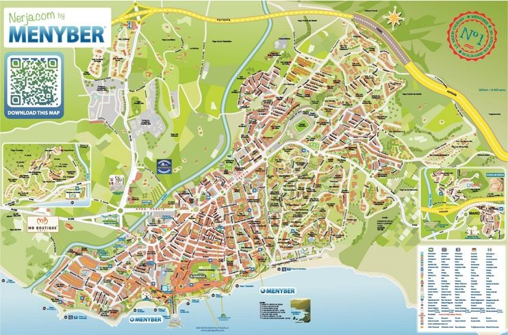 Nerja hotels and sightseeings map Maps Pinterest Spain and City
