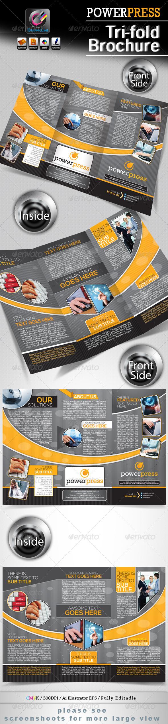 Power Press Tri-fold Corporate Business Brochure  —  EPS Template