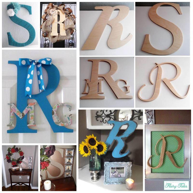 Different ways to decorate wood letters.  Love these for gifts, baby showers, parties, kids room, front door.