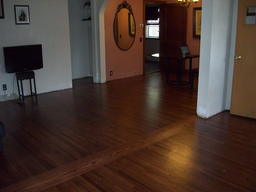 Just Refinished Red Oak Flooring With Mahogany Stain And Varnish