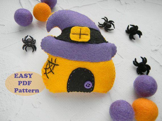 Halloween house ornament Felt pattern pdf Halloween decorations DIY ...