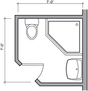 Shower Only Bathroom Floor Plans 42 75 Square Foot Three Quarter
