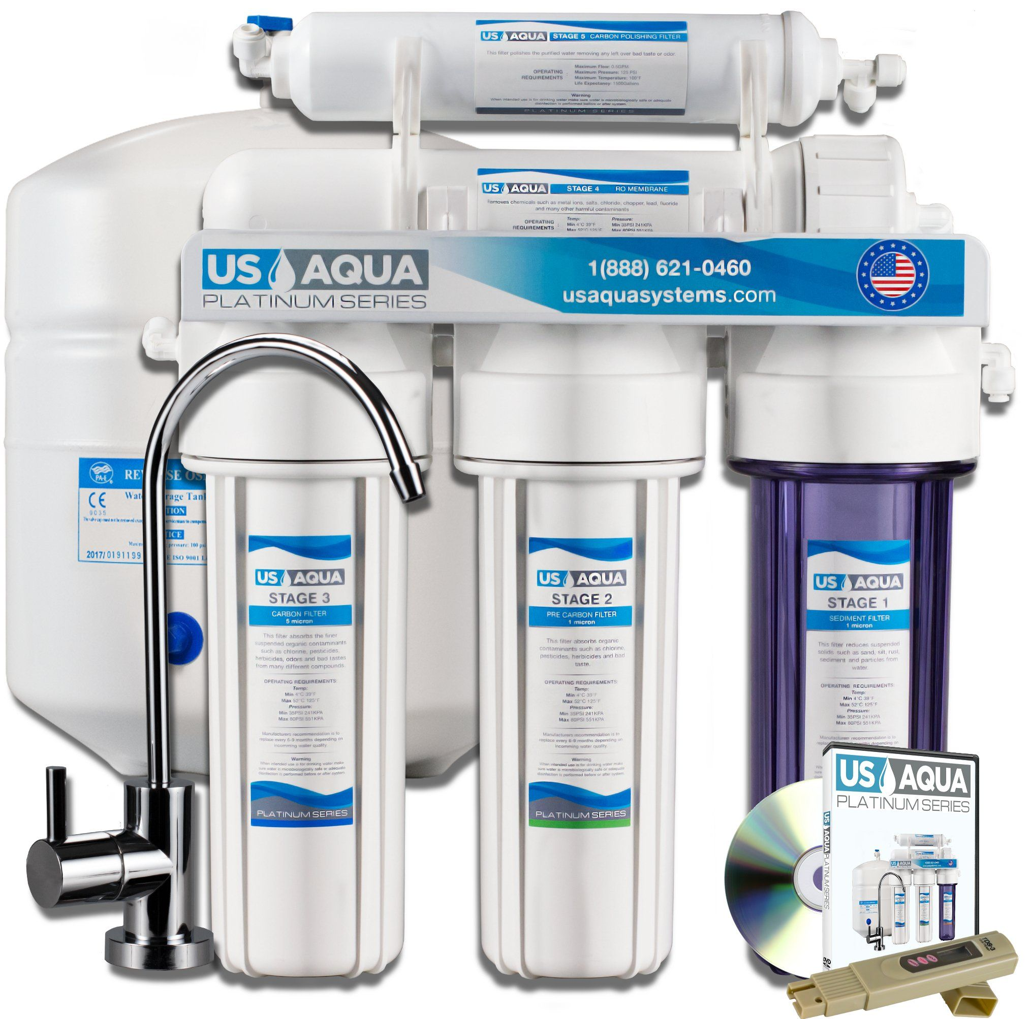 Us Aqua Platinum Series Deluxe High Capacity 100gpd Under Sink Reverse Osmosis Purifier Drinki Best Water Filter Water Purification System Water Filters System