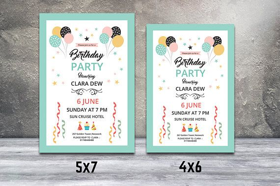 Birthday Party Flyer Birthday Invitation Card Template - How to make a birthday invitation in photoshop elements
