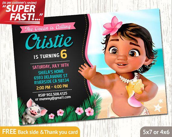 MOANA INVITATION Baby Moana Birthday Invitation Party