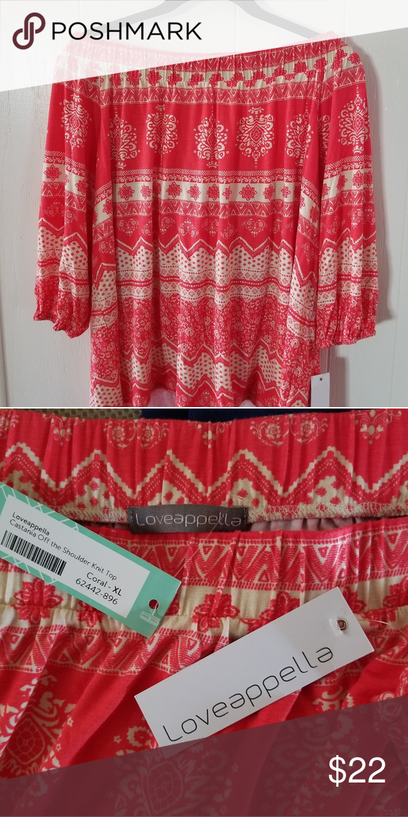 385db45e206c Loveappella Off Shoulder Top Cute coral off shoulder knit top. Purchased  through Stitch Fix. Loveappella Tops