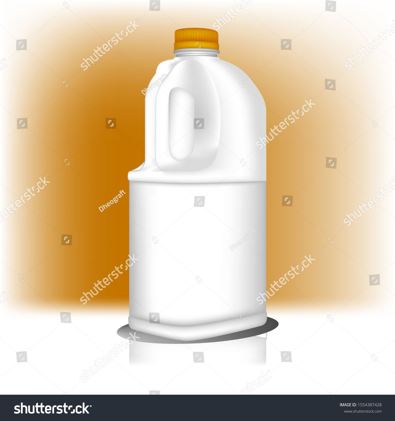 Realistic plastic jug bottle with yellow cap can be used for all product. Jug Bottle mockup. Vector illustration #plasticjugs