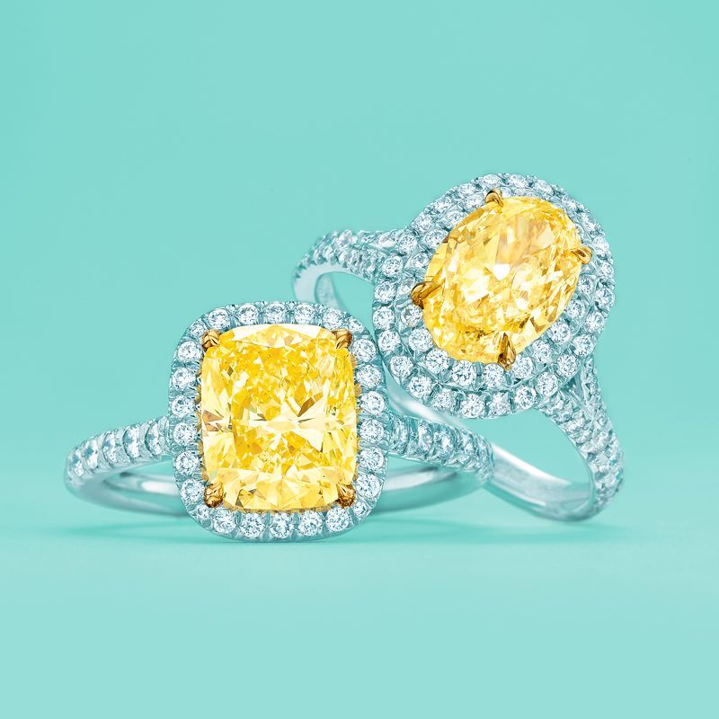 d10bbd8c84a38f Tiffany Soleste® Cushion and Oval engagement rings with yellow diamonds.   TiffanyPinterest