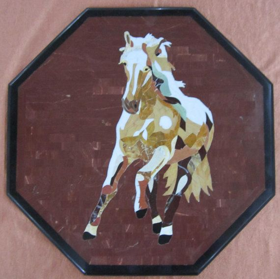 Horse Design Wall Decorative Marble Inlay Panel Hand Made Etsy Marble Decor Wall Design Wall Panel Design