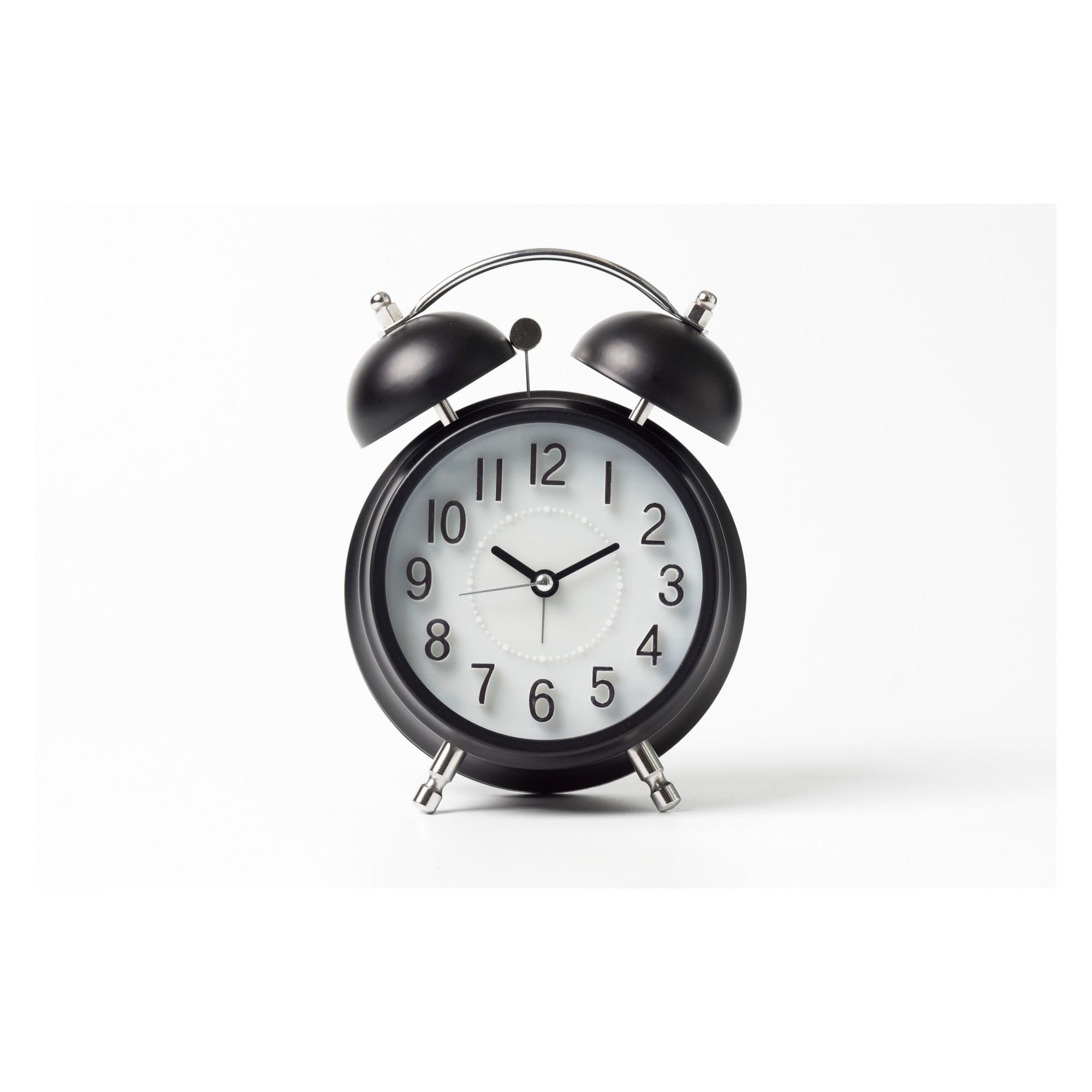 Vintage Modern Twin Bell Alarm Table Clock Black Silver Crosley Vintage Alarm Clocks Analog Alarm Clock Alarm Clock