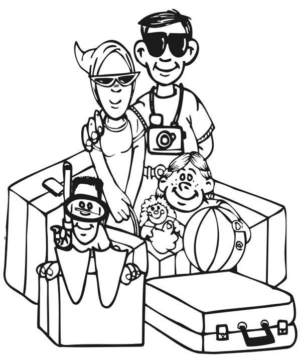 Family Vacation Picture Coloring Page Coloring Sky