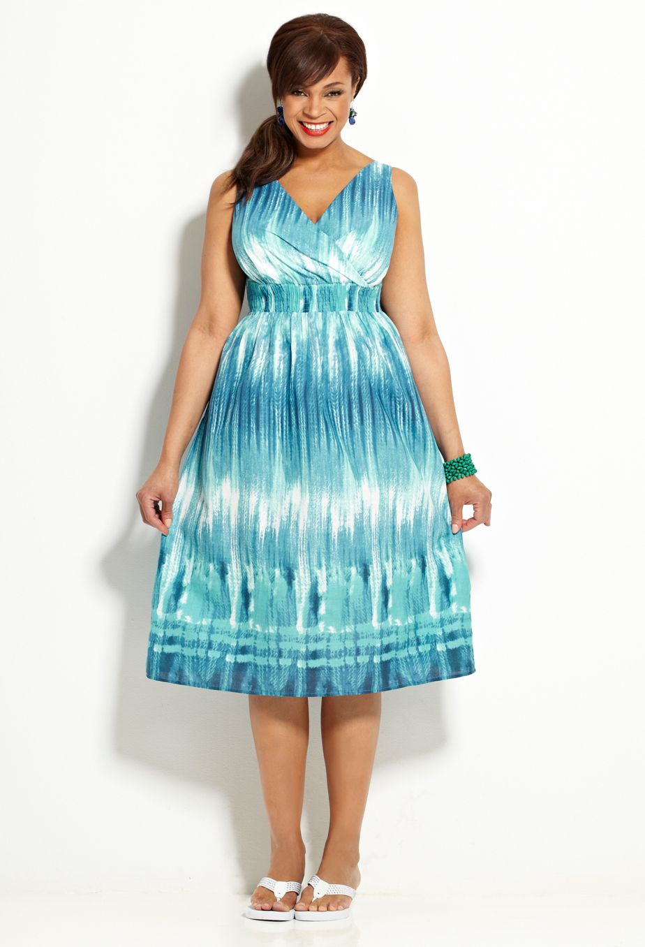 Blue Dip Dyed Cotton Sun Dress from Avenue summer Collection ...