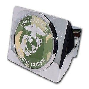 Elektroplate USMC Marines Emblem on Chrome Metal Hitch Cover