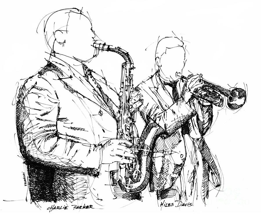 Charlie Parker Miles Davis Handmade Ink Drawing Drawing by Pablo ...