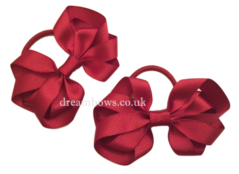 2 x Gingham Check Bow Hair Clips Girls School Uniform Bows Slides