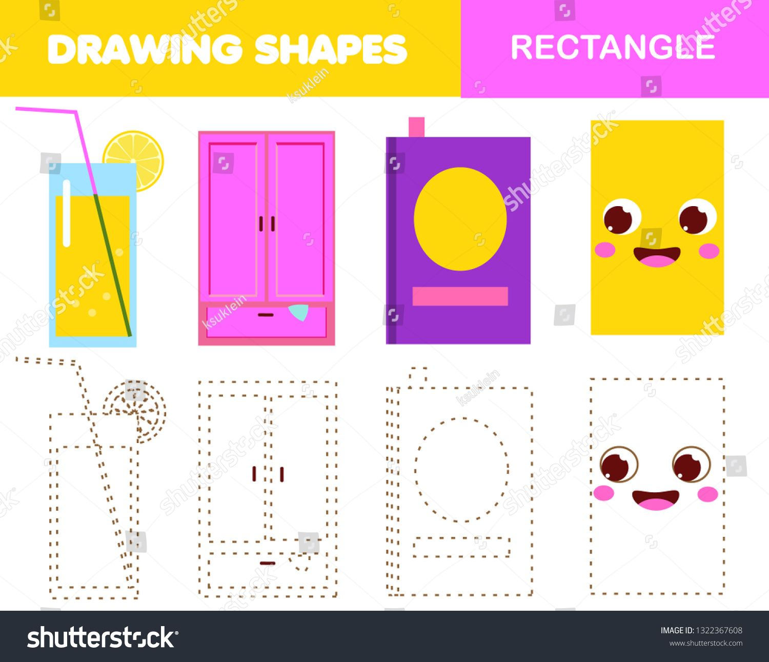 Learning geometric shapes for kids. Rectangle objects