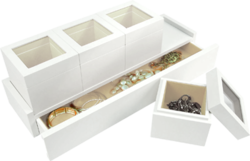 Jewellery Case - White (Darcy). Contemporary design in Cloud White - Benjamin Moores top colour for interior decorative trim. Individual storage boxes with window top include designated padded interior for rings, bracelets and earrings.