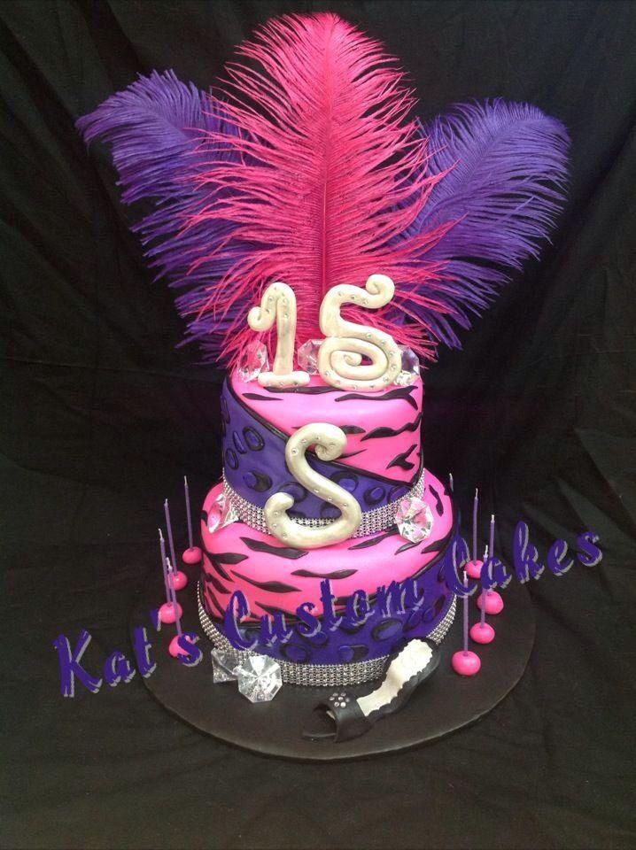 Pink and purple zebra stripe cake